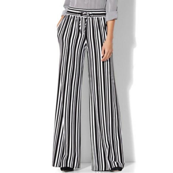 f4f29f9465b7 New York & Company Pants | 7th Avenue Striped Drawstring Palazzo ...